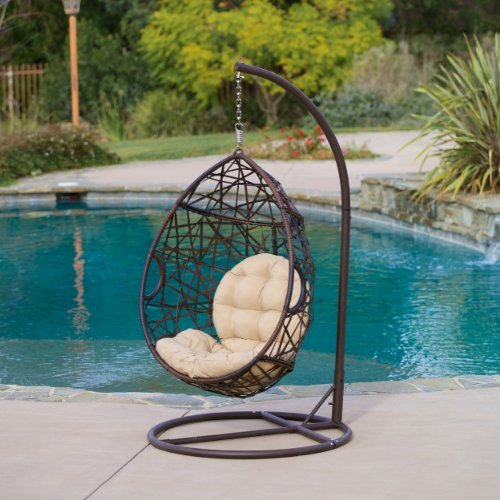 (Christopher Knight Home | Outdoor Wicker Tear Drop Hanging Chair | in)