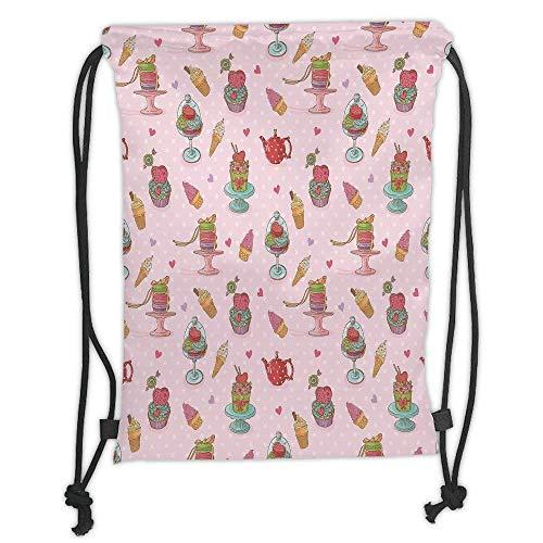 Niomhdos Custom Printed Drawstring Backpacks Bags,Ice Cream Decor,Retro Cupcakes Teapots Candies Cookies on Polka Dots Vintage Kitchen Print,Multicolor,Adjustable String Closure