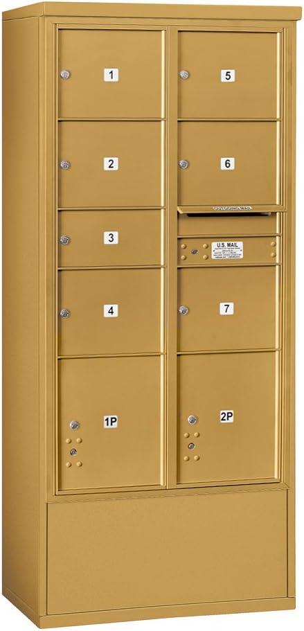 Salsbury Industries 3916d 07gfu Salisbury Industries 4c Free Standing Horizontal Mailbox Front Loading Double Column 1 Mb2 6 Mb3 Doors 2 Pl4 5 S Usps Access Gold Amazon Com