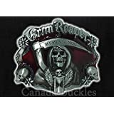 Grim Reaper Red Enamel WESTERN BELT BUCKLE FOR BELTS. WE SHIP FROM CORNWALL, ONTARIO, CANADA. OUR BELT BUCKLES MAKE EXCELLENT GIFTS!