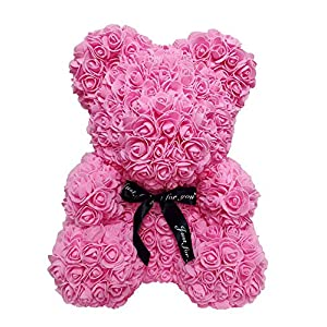 Jamlynbo Rose Teddy Bear Artificial Forever Rose Flower, Gift for Valentines Day/Annieverary/Mother's Day/Children's Day/Birthday 59