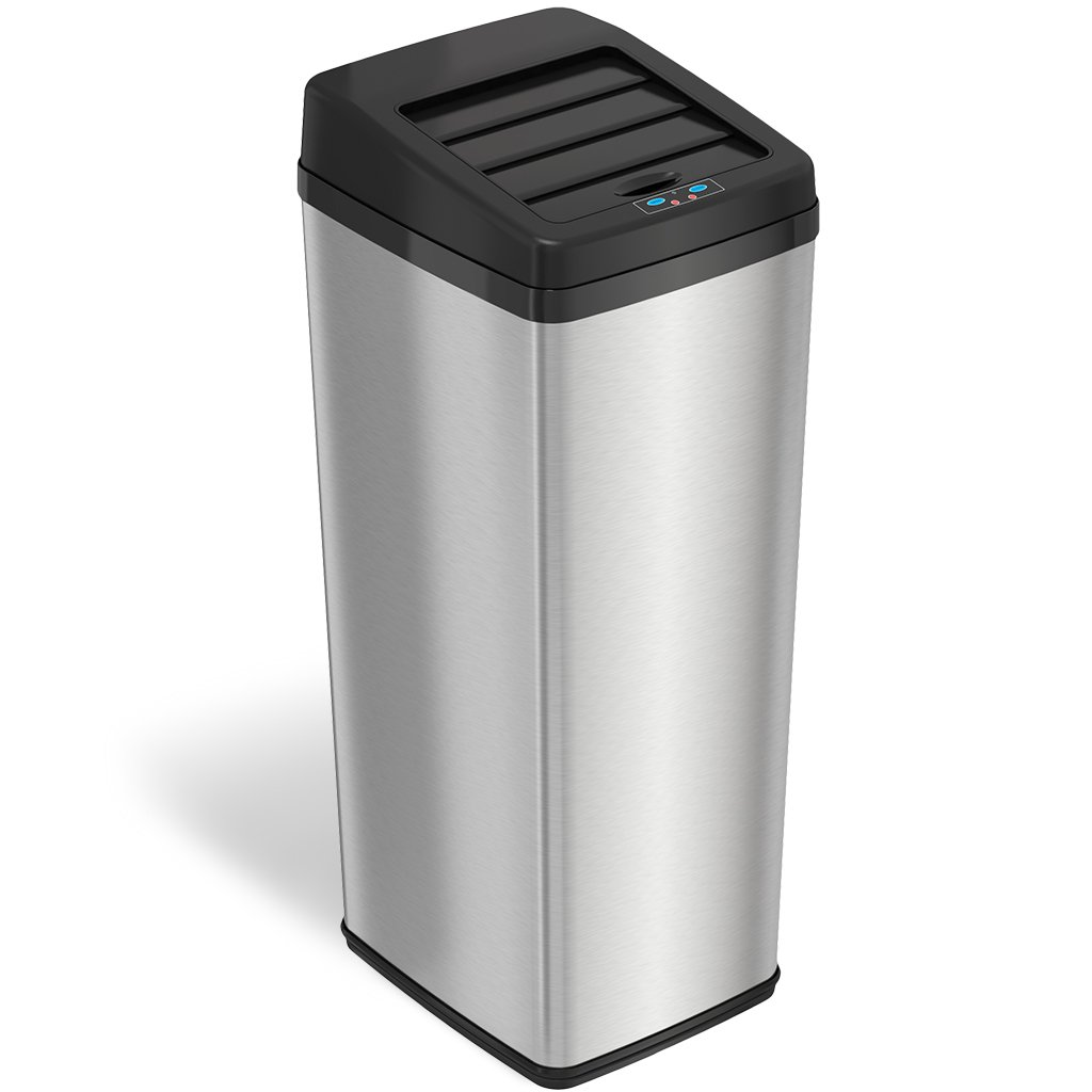 iTouchless Sliding Lid Automatic Touchless Sensor Trash Can – 14 Gallon / 52 Liter – Stainless Steel – Kitchen Trash Can IT14SC