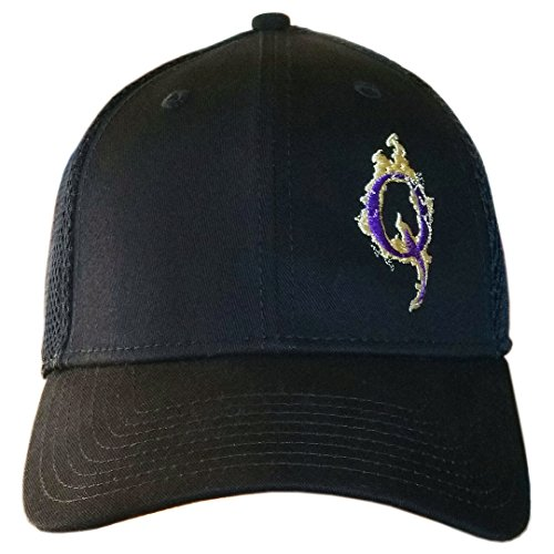 Q Purple & Gold Custom Logo Cap Q Anonymous QAnon Hat (New Era Structured Black Hat w/Purple & Gold Q)