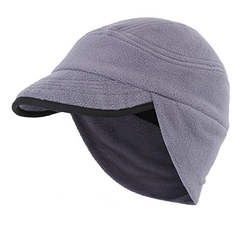 (Home Prefer Unisex Winter Skull Cap Outdoor Windproof Polar Fleece Earflap Hat with Visor Gray)