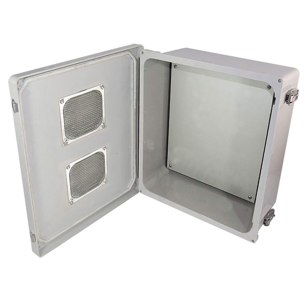 Altelix 14x12x6 Vented FRP Fiberglass Weatherproof NEMA Enclosure with Aluminum Equipment Mounting Plate, Hinged Lid & Stainless Steel Latches by Altelix