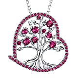 Created Red Ruby Jewelry Gifts for Women The Tree of Love Necklace Birthday for Her for Wife Girlfriend Fiancee Grandma Sterling Silver 18''+2'' Chain