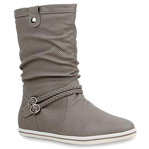 Stiefelparadies - Botas plisadas Mujer Gris - gris claro (grey 801)