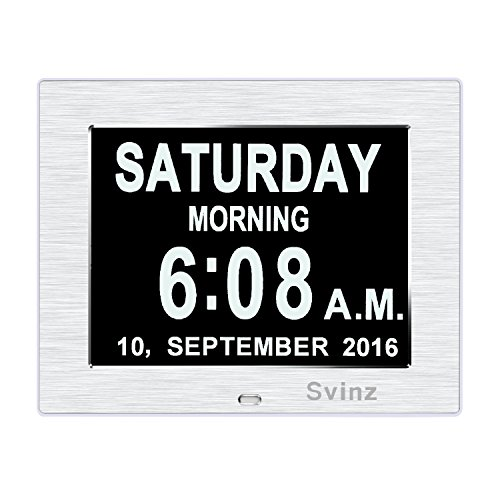 -[ [Newest Version] Svinz Memory Loss Day Clock Digital Calendar with 3 Alarm Options, Mid or Low A