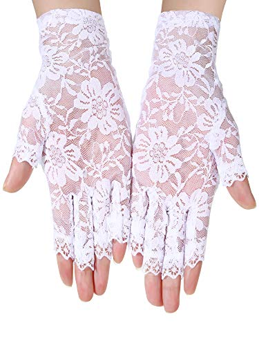BBTO 3 Pairs 80's Lace Fingerless Gloves Women's Floral Lace Gloves Costume Gothic Gloves for Halloween Fancy Dresses Hen Night (Black and White) -
