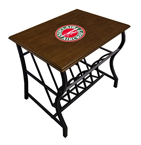 New Espresso Cappuccino End Table with Bottom Magazine Rack with Sinclair Aircraft - Rack Cappuccino Magazine