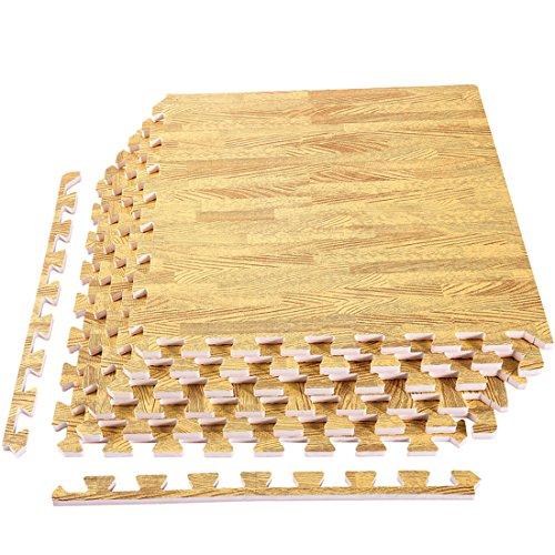 "[Upgrade] 6 Tiles Foam Mats, Superjare Extra Thick (9/16"") Interlocking Tiles, Protective Flooring Mat Light Wood Grain"