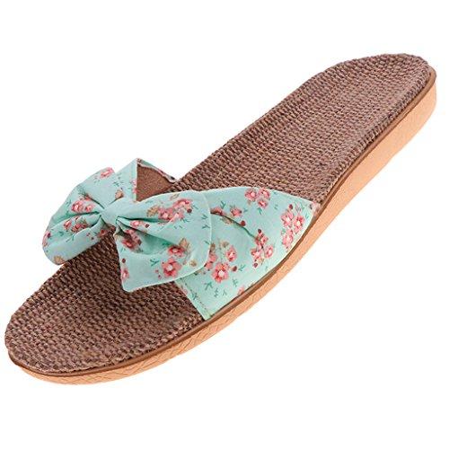 Dame Hôtel Sandales Voyage Pliable Clair Bowknot Vert Jetable Sharplace Chaussures Pantoufles Pantoufles zqSwIT