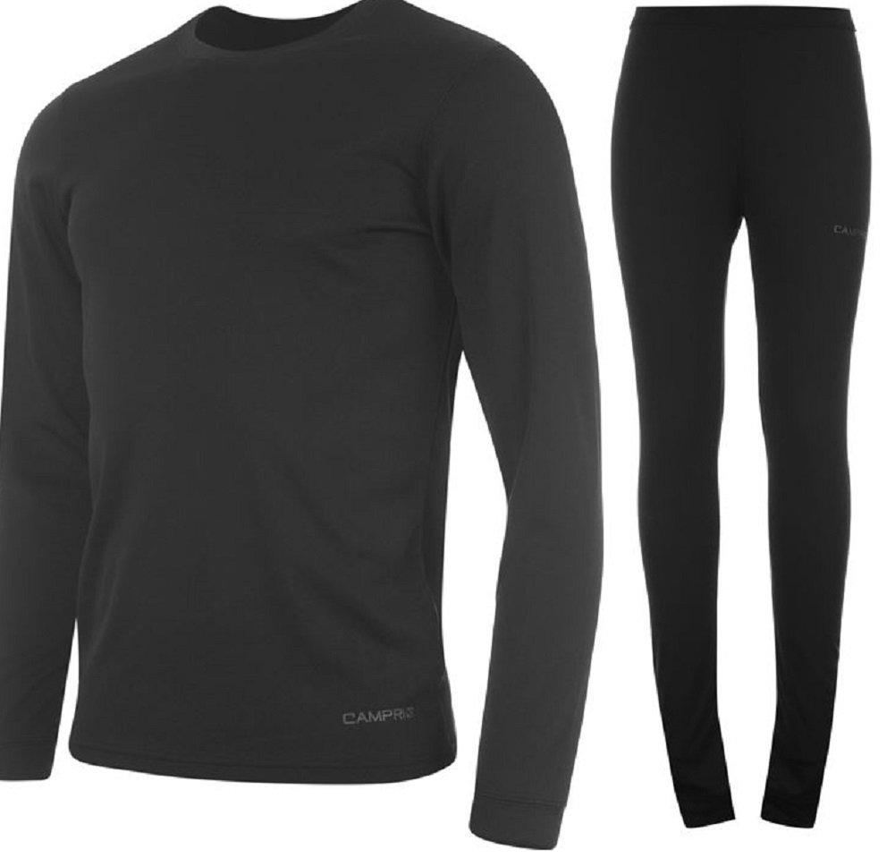 Campri Mens Sports Base Layer Thermal Underwear Top & Pant Set Black