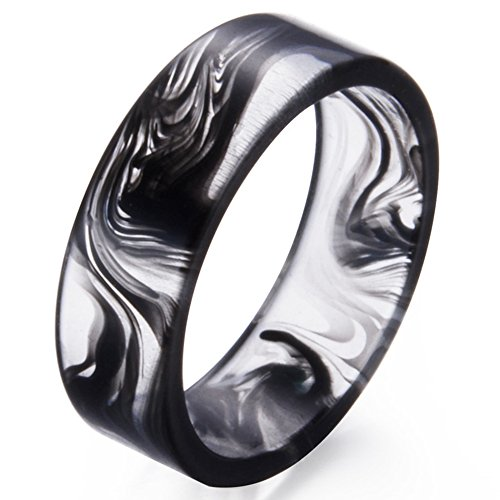 Jude Jewelers 8mm Transparent Plastic Resin Band Style Ring (Black, 6) (Ring Mens Transparent)