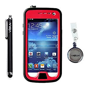 VISUN™ Samsung Galaxy S4 Mini Case - Waterproof Case IP68 Waterproof Shockproof Durable Full Sealed Protection Case Cover with Stylus Pen and Retractable Reel for Samsung Galaxy S4 Mini (Red)