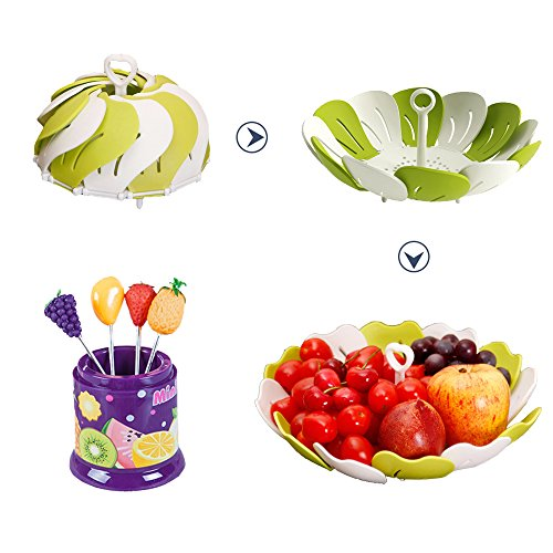 Premium Designer Fruit Bowl & Candy Dish is the Ultimate Tray/Platter & Plate, FREE 6 Stainless Steel Forks Included, Awesome Fruit Basket for Parties, Weddings, Baby Showers, Office, Shatter Proof (Microwave Plate Stacker compare prices)