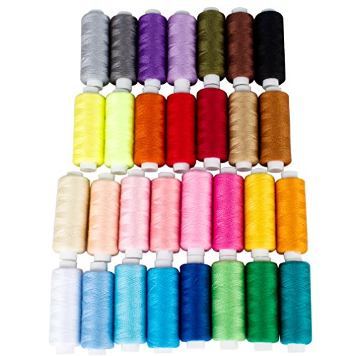 SuPoo 30 Color Spools Sewing Thread, 250 Yard Each Polyester