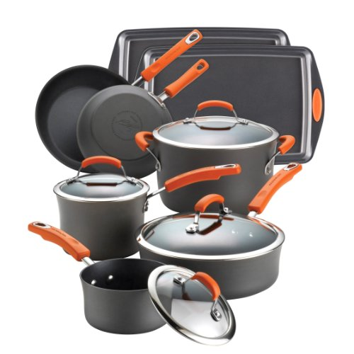 Rachael Ray Hard Anodized II Nonstick 12-Piece Set, Orange handles