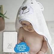 Premium Bamboo Baby Hooded Bath Towel Set with Wash/Drying Mitt | Hypoallergenic, Anti-microbial, Odor Resistant | Super Soft, Plushy, Highly Absorbent, 100% Organic Bamboo and Extra Large (1-Pack)