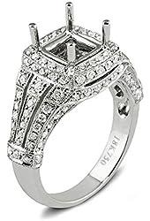 0.95 Carat (ctw) 18k White Gold Diamond Antique Vintage Look Semi Mount Bridal Ring (No Center Stone)
