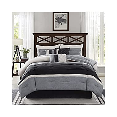 Madison Park Collins 7 Piece Comforter Set - Black - Queen