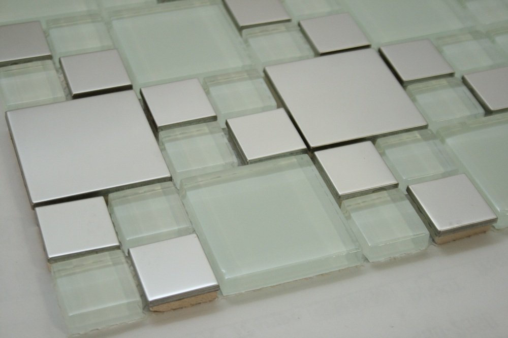 Silver Stainless Steel Metal Square Tile 2''x2'', 1''x1'' + White Glass Tile 2''x2'', 1''x1''