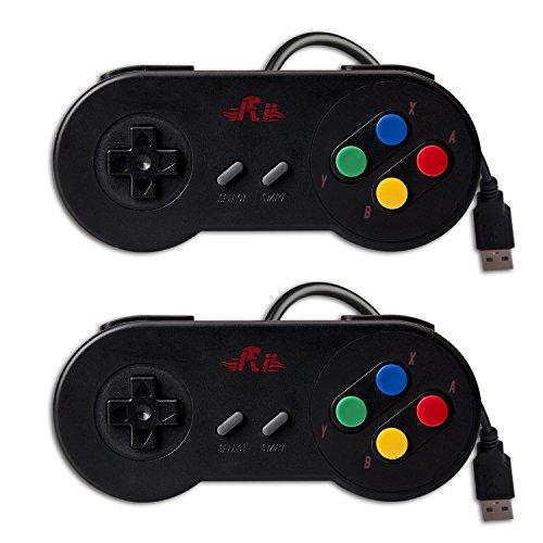 Rii GP100 SNES Retro USB Super Nintendo Controller, USB PC Controller, Raspberry Pi Controller for Windows PC / MAC / Raspberry Pi/ Black (2 Pack)