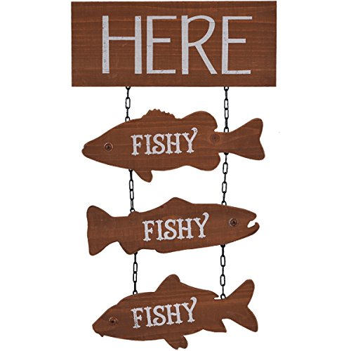 NIKKY HOME Here Fishy Wooden Wall Funny Fisherman Fishing Plaque Sign with Chain 11.81 x 0.71 x 19.69 Inches, Brown