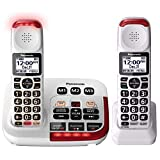 Panasonic KX-TGM420W Amplified Cordless Phone with Digital Answering Machine, 2 Handsets, White