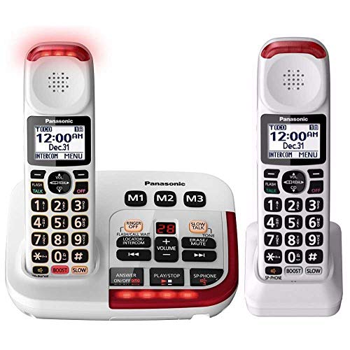 Panasonic KX-TGM420W Amplified Cordless Phone with Digital Answering Machine, 2 Handsets, White ()