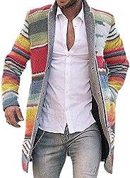 Mens Autumn Winter Rainbow Striped Open Front Cardigan Jacket Long Sleeve Trench Coat Overcoat