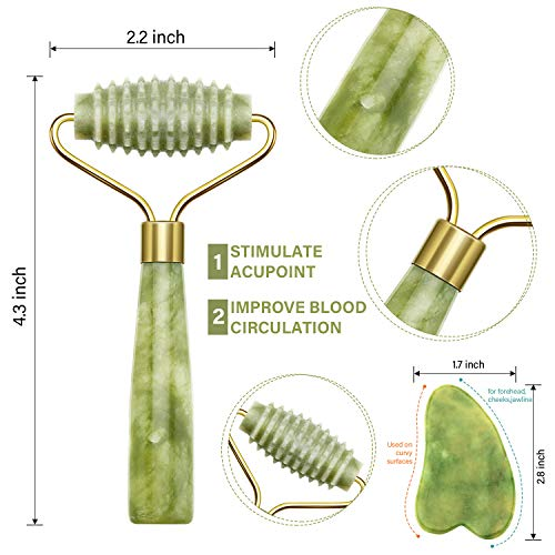 4 Pack Jade Roller Facial Ridged Roller Kits Skin Roller with 2 Pieces Gua Sha Scraping Massage Tools Anti Aging and…