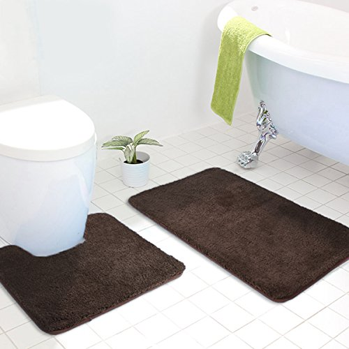 MAYSHINE Bath mat sets for bathroom rugs and 2 Piece Toilet Contour mats Non slip Machine washable Soft Microfiber,Perfect for Tub and Shower (Brown 20