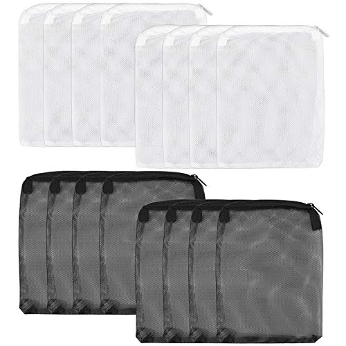Awpeye 16 Pieces Aquarium Filter Bags, Media Mesh Filter Bags Fish Tank Filter Bag with Zipper for Activated Carbon Particles to Remove - White and - Bags Filter Carbon