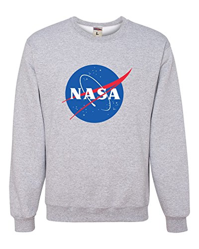 Go All Out Medium Athletic Heather Adult NASA Logo Sweatshirt Crewneck 1d6a729edd