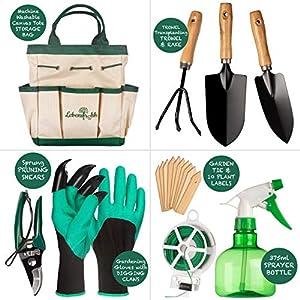 Lebensfrohh Garden Tool Set (9 Pieces – 4 Tools, Tote Bag, Spray Bottle, Labels, Gloves, Plant Tie)