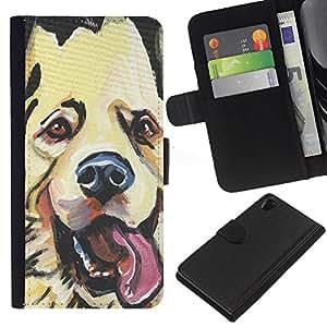 Stuss Case / Funda Carcasa PU de Cuero - Golden Retriever Labrador Art Drawing Dog - Sony Xperia Z2 D6502