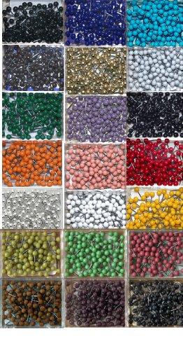 "Map Tacks - Set of 21 Colors - 1/8"" Diameter Head, 5/16"" Long Pin (21 boxes, 100 per box)"