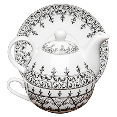 Four Piece Tea (Grace Teaware Porcelain 4-Piece Tea For One (Black Moroccan) )