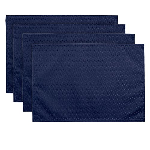 ColorBird Elegant Waffle Jacquard Doily Place Mat Waterproof Spillproof Microfiber Fabric Table Placemats, 13 x 19 Inch, Set of 4, Navy (4 Piece Blue Table Napkins)