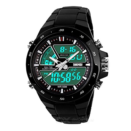 Relojes de Hombre Sport LED Digital Military Water Resistant Watch Reloj Men RE0034 (BLACK)