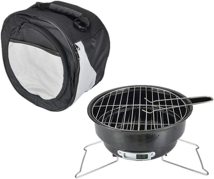 Barbacoa portátil - 1-3 personas Mini fácil de limpiar, configuración rápida redonda de alta temperatura, adecuado para parrilla, oferta para acampar, picnics, fiestas, comidas interiores y exteriores