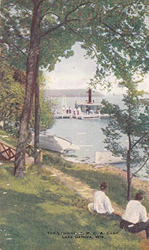 """411VINT04 c.1921 THE LANDING Y.M.C.A. CAMP, Lake Geneva, Wisconsin VINTAGE POSTCARD COLLECTIBLE Post Card from HIBISCUS EXPRESS -THIS POSTCARD IS 5 1/2"""""""" x 3 1/2"""""""