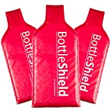3 Pack Reusable Wine Protector Travel Bag by Bottle Shield - Double Layer Bubble Wrap Suit With Zip Locks & Unbreakable Bottle Sleeve, Leak Proof | Wine Bags Gift Accessory for Suitcase Luggage