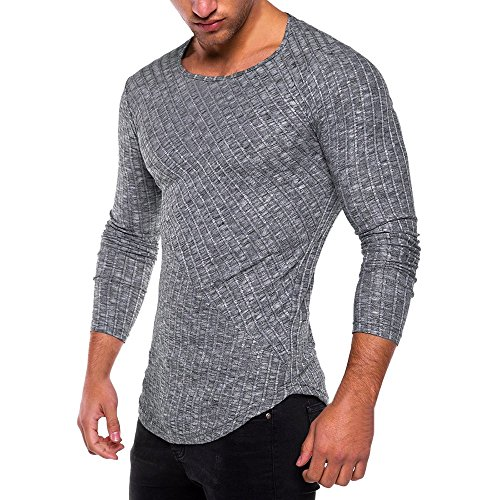 HGWXX7 Men's Fashion Solid O Neck Long Sleeve Muscle Tee T-Shirt Tops Blouse (XL, Deep Gray)