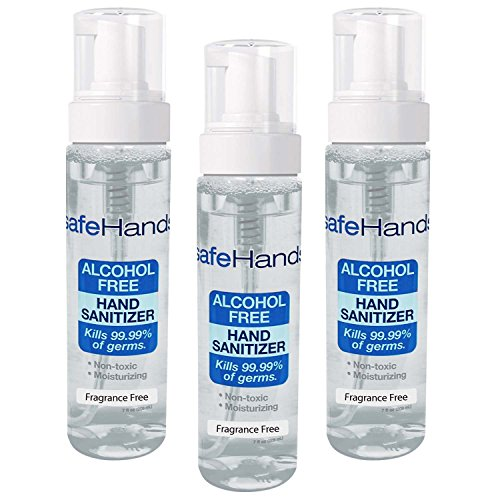 SafeHands #1 Alcohol Free Foam Hand Sanitizer Brand, Fragance Free, 7 Oz (Economy Gel Foam)