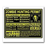 United States US Zombie Hunting License Permit Yellow - Biohazard Response Team - Window Bumper Locker Sticker