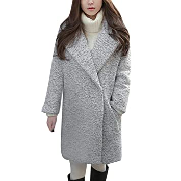 Womens Coats Winter Besde Womens Fashion Casual Warm Lightweight Outwear Imitation Lapel Warm Slim Jacket Long
