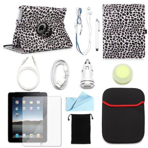 BUNDLE OFFER ARION iPad 2/3/4 11-Item Accessory Bundle Kit for Apple iPad 2/3/4 - 360 Rotating Stand PU Leather Case, Screen Protector, Cleaning Cloth, Stylus Pen,Car Charger,USB Lightning Sync Cable, Aux Cable, Earphone, Wire-holding Box, Sleeve Case, Drawstring Travel Pouch (Purple Leopard, Leather case will only fit Apple iPad 2/3/4)