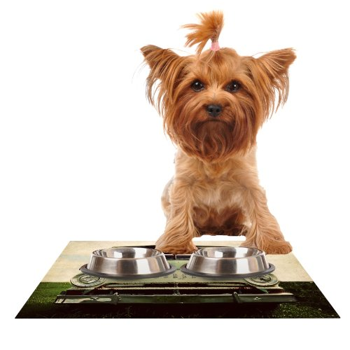Kess InHouse Angie Turner Dodge  Green Car Feeding Mat for Pet Bowl, 18 by 13